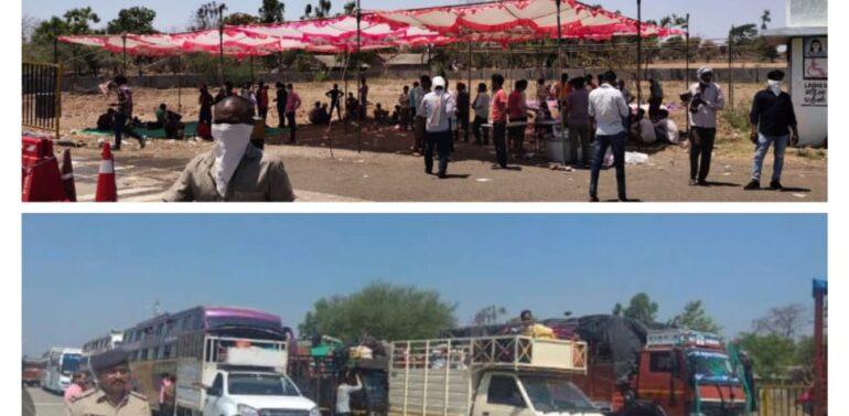 દે.બારીયા:રાજ્યો વચ્ચે સંકલનના અભાવે ભથવાડા ટોલનાકા પર સેંકડો શ્રમિકો અટવાયા